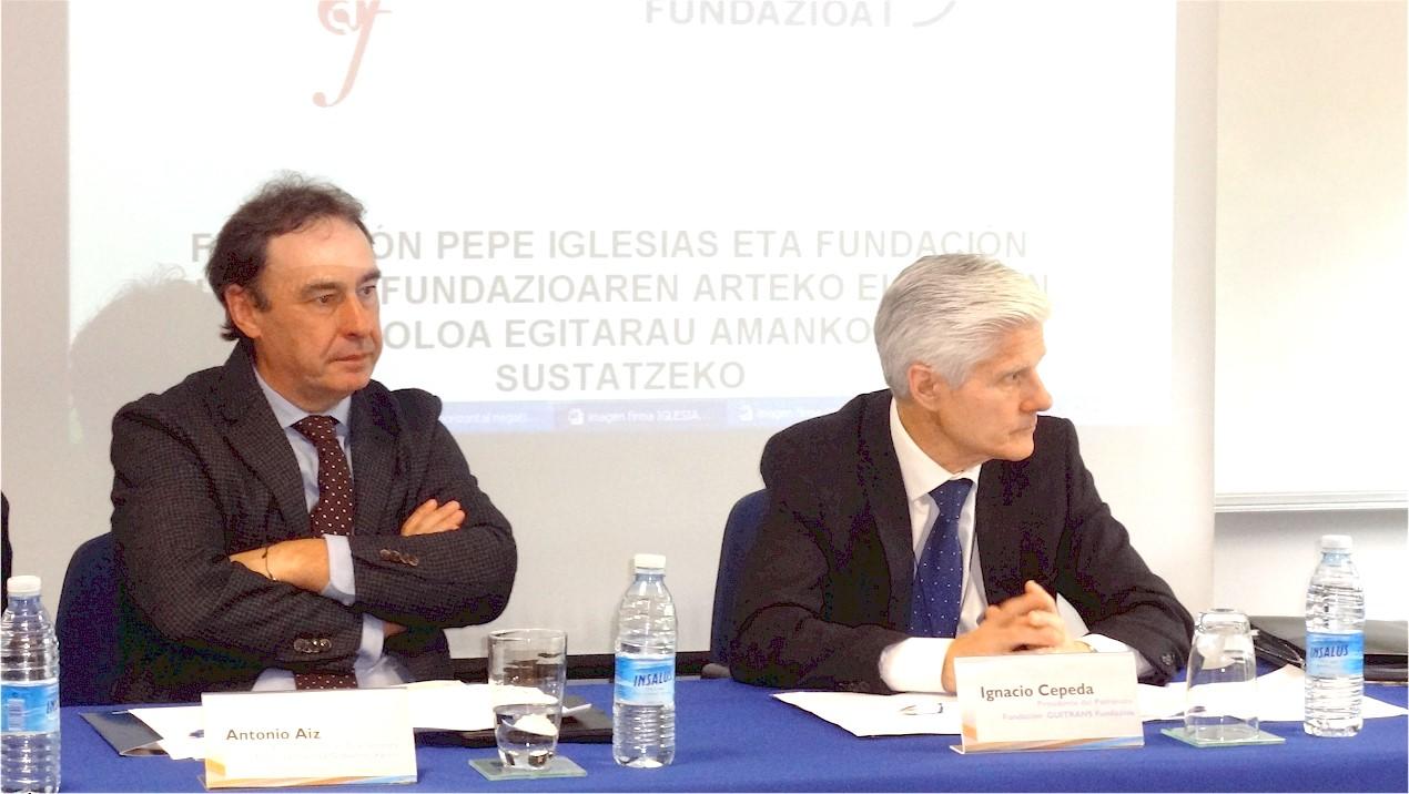El Viceconsejero de Transportes del Gobierno Vasco, D. Antonio Aiz y el Presidente del Patronato de la Fundación Guitrans Fundazioa, D. Ignacio Cepeda
